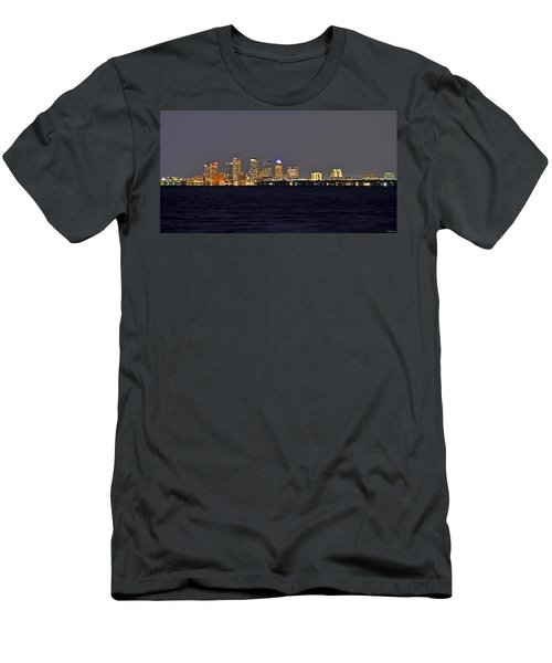 Men's T-Shirt (Slim Fit) featuring the photograph Tampa City Skyline At Night 7 November 2012 by Jeff at JSJ Photography