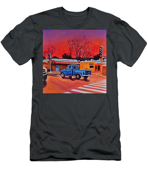 Men's T-Shirt (Slim Fit) featuring the painting Taos Blue Truck At Dusk by Art West