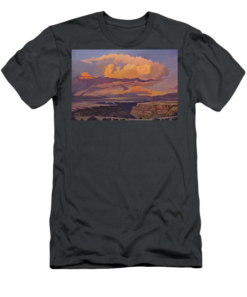 Men's T-Shirt (Slim Fit) featuring the painting Taos Gorge - Pastel Sky by Art James West