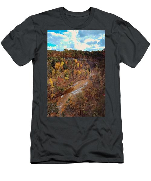 Men's T-Shirt (Slim Fit) featuring the painting Taughannock River Canyon In Colorful Fall Ithaca New York V by Paul Ge