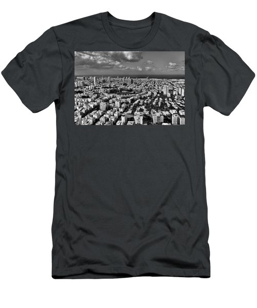 Tel Aviv Center Black And White Men's T-Shirt (Athletic Fit)