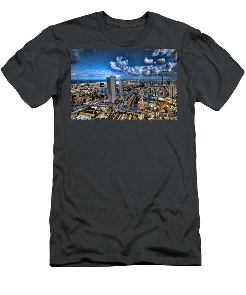 Tel Aviv Center Skyline Men's T-Shirt (Slim Fit) by Ron Shoshani