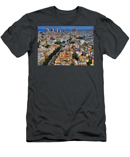 Men's T-Shirt (Slim Fit) featuring the photograph Tel Aviv Eagle Eye View by Ron Shoshani
