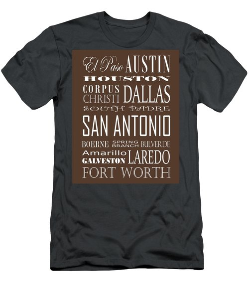 Texas Cities On Brown Men's T-Shirt (Athletic Fit)
