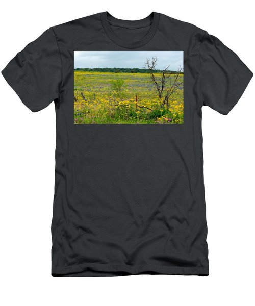 Texas Wildflowers And Mesquite Tree Men's T-Shirt (Athletic Fit)