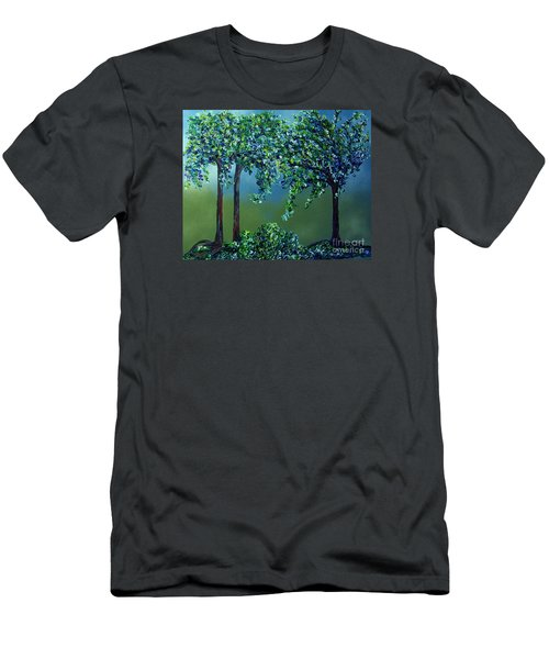 Men's T-Shirt (Slim Fit) featuring the painting Texture Trees by Eloise Schneider
