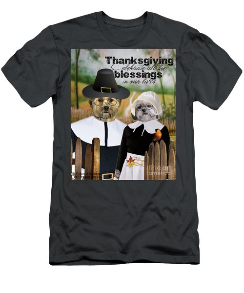 Men's T-Shirt (Athletic Fit) featuring the digital art Thanksgiving From The Dogs by Kathy Tarochione