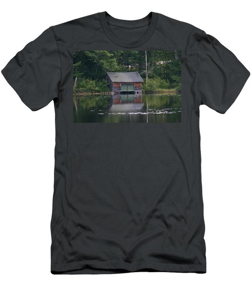 Men's T-Shirt (Slim Fit) featuring the photograph The Boat House On Mt Chocorua Lake by Denyse Duhaime