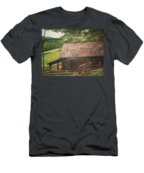 Men's T-Shirt (Slim Fit) featuring the painting The Cherrys Barn by Jan Dappen