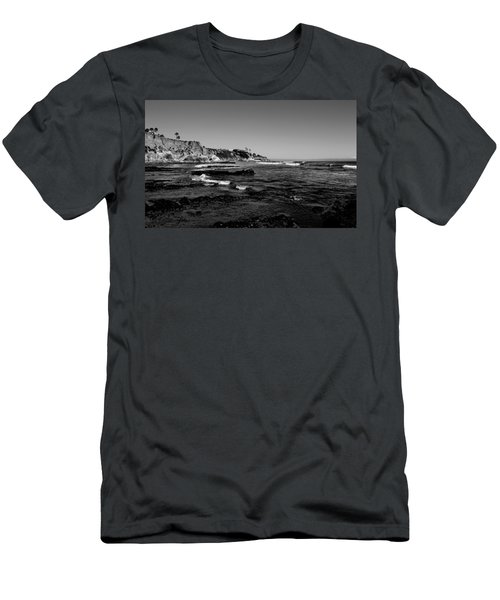 The Cliffs Of Pismo Beach Bw Men's T-Shirt (Slim Fit) by Judy Vincent