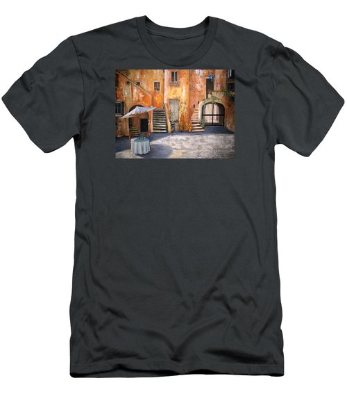 Men's T-Shirt (Slim Fit) featuring the painting The Courtyard by Alan Lakin