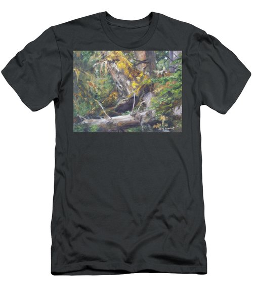 Men's T-Shirt (Slim Fit) featuring the painting The Crying Log by Lori Brackett