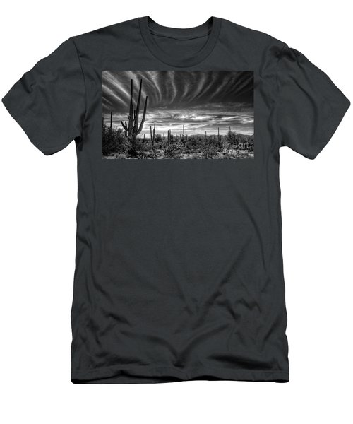 The Desert In Black And White Men's T-Shirt (Athletic Fit)