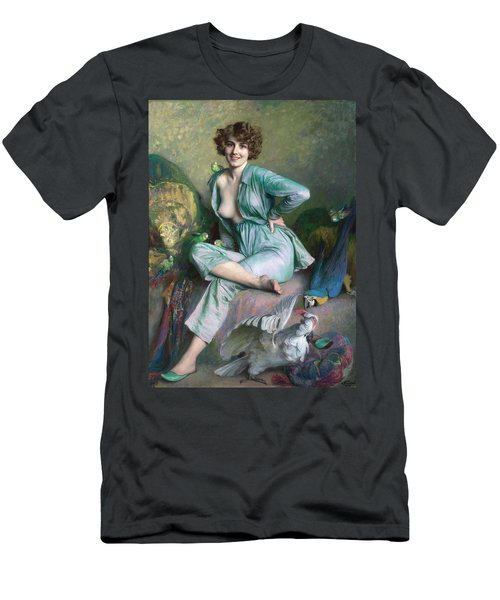 Men's T-Shirt (Athletic Fit) featuring the painting The Familiar Birds by Emile Friant