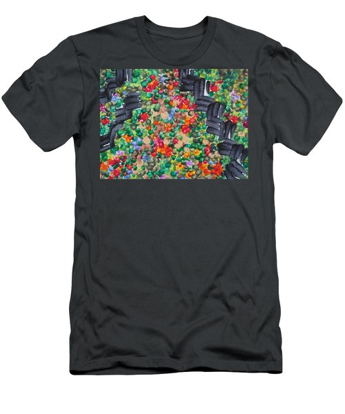 Men's T-Shirt (Slim Fit) featuring the painting The Garden Path by Michele Myers