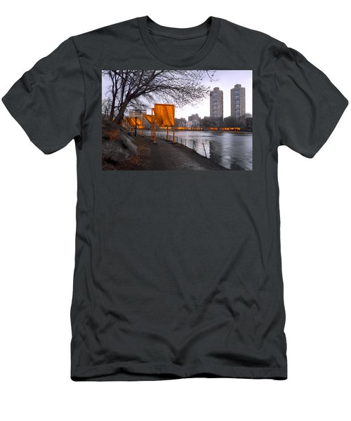 Men's T-Shirt (Slim Fit) featuring the photograph The Gates - Central Park New York - Harlem Meer by Gary Heller