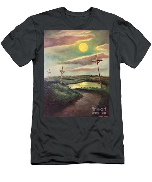 Men's T-Shirt (Slim Fit) featuring the painting The Moon With Three Crosses by Randol Burns