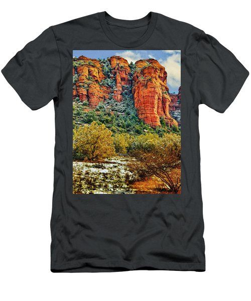 Men's T-Shirt (Slim Fit) featuring the photograph The Secret Mountain Wilderness In Sedona Back Country by Bob and Nadine Johnston
