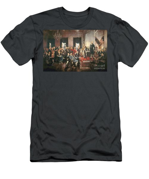 The Signing Of The Constitution Of The United States In 1787 Men's T-Shirt (Slim Fit) by Howard Chandler Christy
