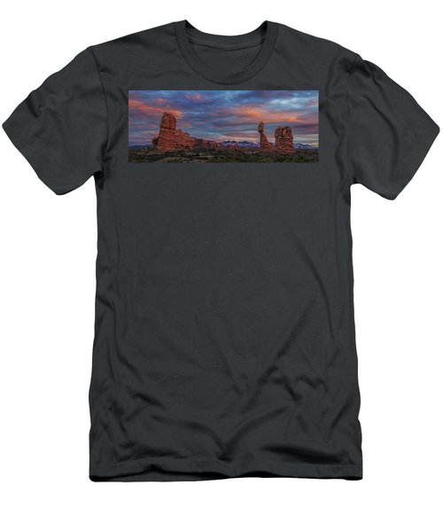 The Sun Sets At Balanced Rock Men's T-Shirt (Slim Fit) by Roman Kurywczak