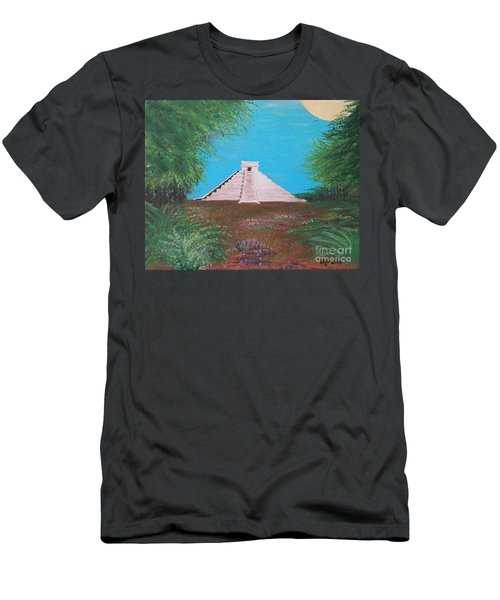 Men's T-Shirt (Slim Fit) featuring the painting The Temple Of Kukulcan by Alys Caviness-Gober