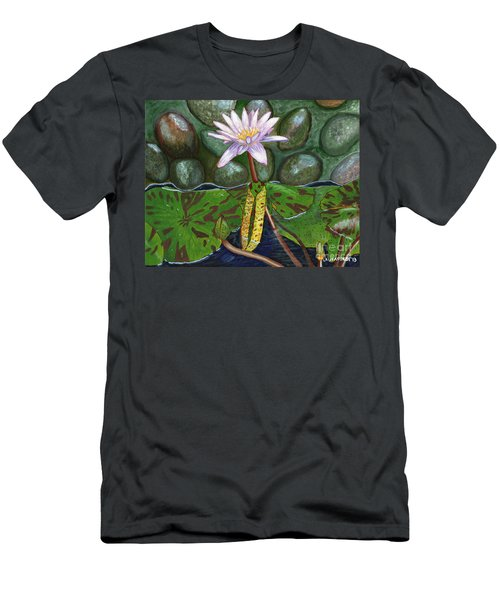 Men's T-Shirt (Slim Fit) featuring the painting The Waterlily by Laura Forde