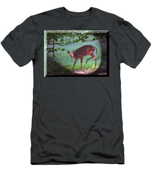The Whitetail Buck Visits Men's T-Shirt (Athletic Fit)