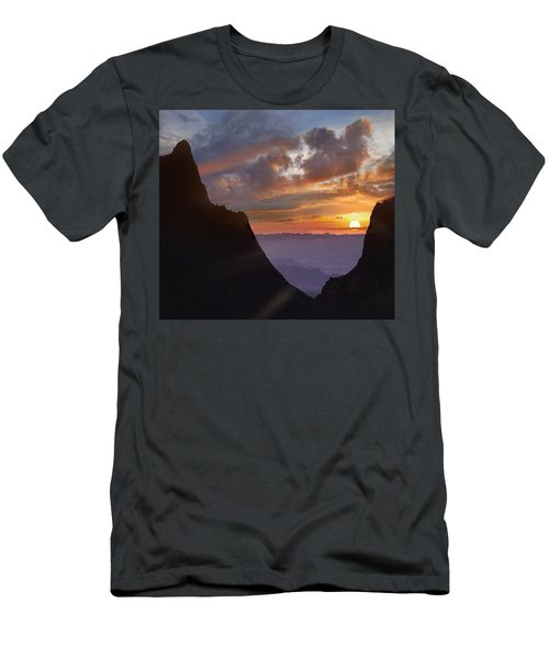 Men's T-Shirt (Athletic Fit) featuring the photograph The Window At Sunset Big Bend Np Texas by Tim Fitzharris