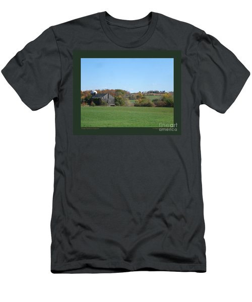 Three Farms In Autumn Men's T-Shirt (Slim Fit) by Patricia Overmoyer