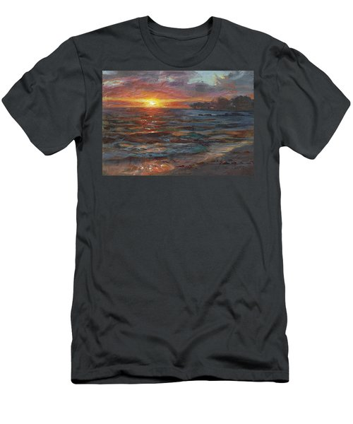Through The Vog - Hawaii Beach Sunset Men's T-Shirt (Slim Fit) by Karen Whitworth
