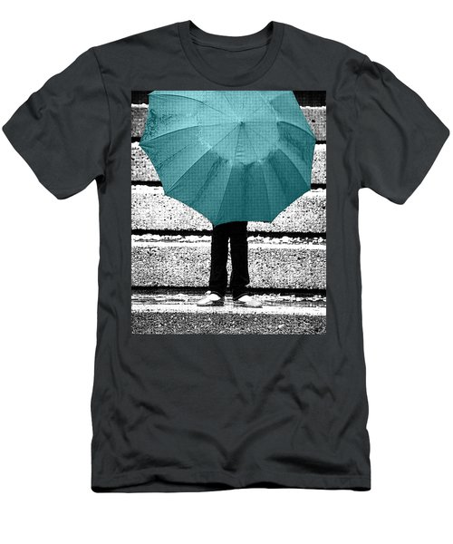 Tiffany Blue Umbrella Men's T-Shirt (Athletic Fit)