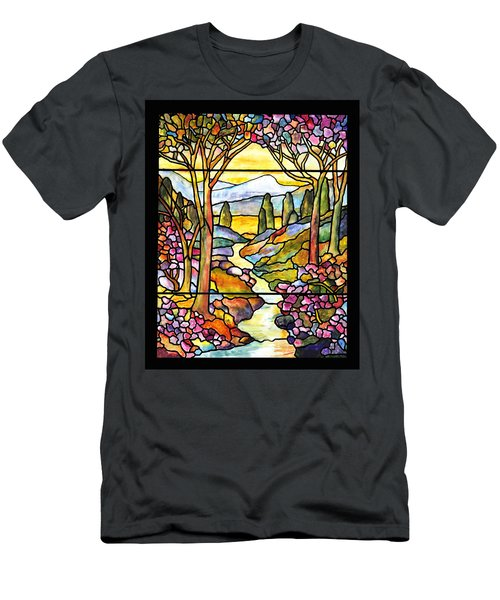 Tiffany Landscape Window Men's T-Shirt (Slim Fit) by Donna Walsh