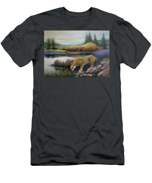 Tiger By The River Men's T-Shirt (Athletic Fit)