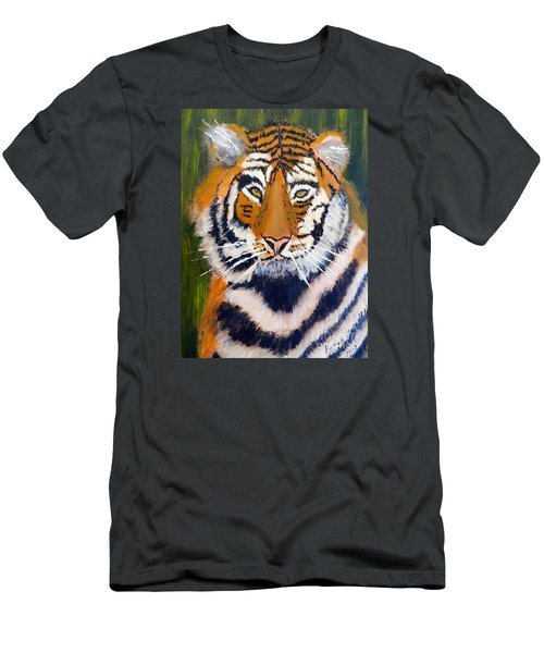 Men's T-Shirt (Slim Fit) featuring the painting Tiger by Pamela  Meredith