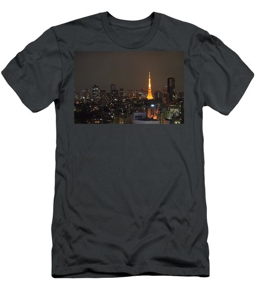 Tokyo Skyline At Night With Tokyo Tower Men's T-Shirt (Slim Fit) by Jeff at JSJ Photography