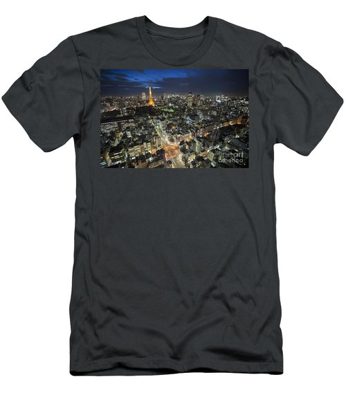 Tokyo Tower At Night Men's T-Shirt (Athletic Fit)