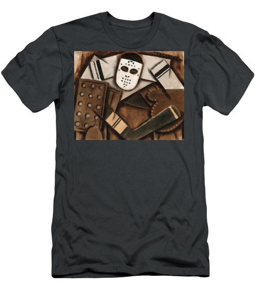 Abstract Cubism Vintage Hockey Goalie Art Print Men's T-Shirt (Athletic Fit)