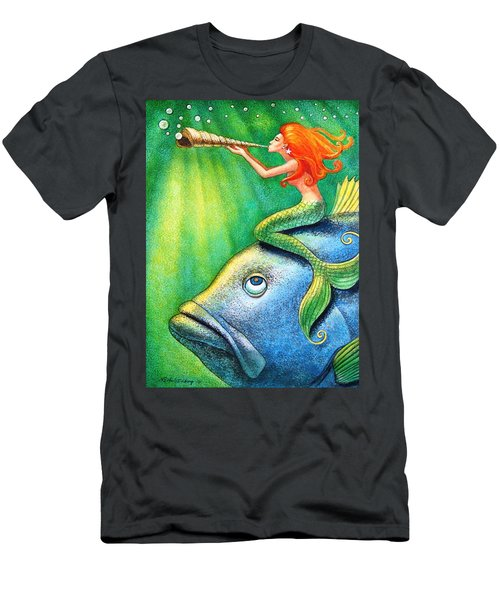 Toot Your Own Seashell Mermaid Men's T-Shirt (Athletic Fit)