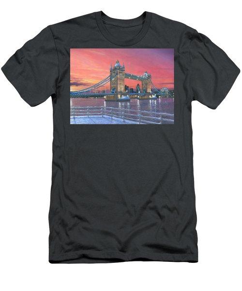 Tower Bridge After The Snow Men's T-Shirt (Athletic Fit)