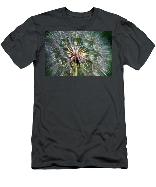 Men's T-Shirt (Slim Fit) featuring the photograph Tragopogon Dubius Yellow Salsify Flower Fruit Seed by Karon Melillo DeVega