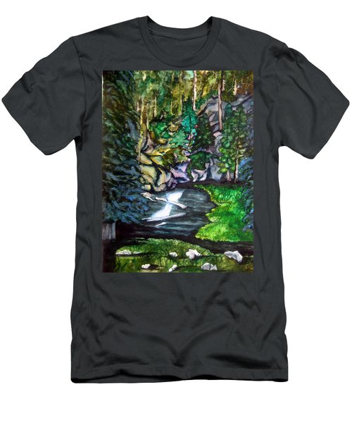 Men's T-Shirt (Slim Fit) featuring the painting Trail To Broke-off by Lil Taylor