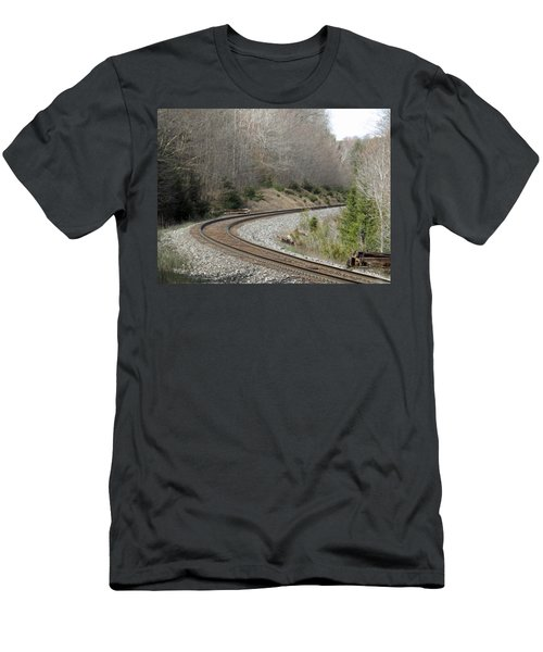 Train It Coming Around The Bend Men's T-Shirt (Slim Fit) by Brenda Brown