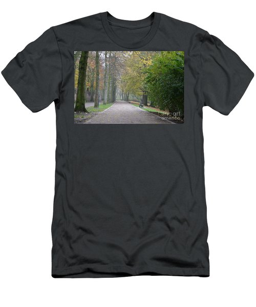 Men's T-Shirt (Slim Fit) featuring the photograph Tree Lined Path In Fall Season Bruges Belgium by Imran Ahmed