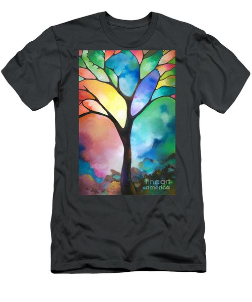 Original Art Abstract Art Acrylic Painting Tree Of Light By Sally Trace Fine Art Men's T-Shirt (Slim Fit) by Sally Trace
