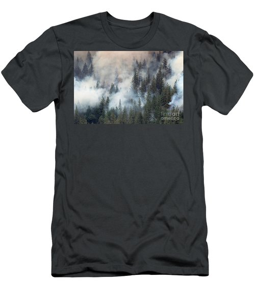 Beaver Fire Trees Swimming In Smoke Men's T-Shirt (Athletic Fit)