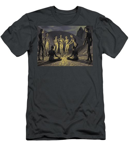 Men's T-Shirt (Slim Fit) featuring the digital art Tribe by John Alexander