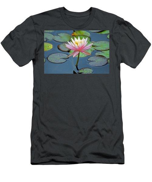 Tropical Pink Lily Men's T-Shirt (Slim Fit) by Cynthia Guinn