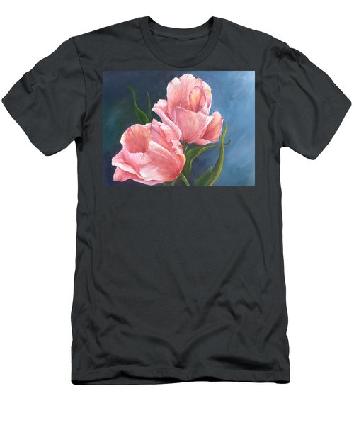 Men's T-Shirt (Slim Fit) featuring the painting Tulip Waltz by Sherry Shipley