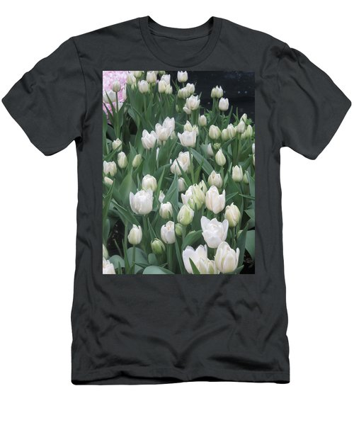 Men's T-Shirt (Slim Fit) featuring the photograph Tulip White Show Flower Butterfly Garden by Navin Joshi