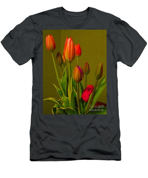 Tulips Against Green Men's T-Shirt (Athletic Fit)